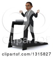 Clipart Of A 3d Young Black Businessman Facing Slightly Left Meditating And Walking On A Treadmill Royalty Free Illustration