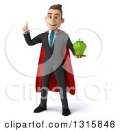 Clipart Of A 3d Young White Super Businessman Holding Up A Finger And A Green Bell Pepper Royalty Free Illustration