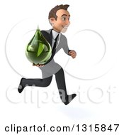 Clipart Of A 3d Happy Young White Businessman Sprinting To The Right And Holding A Green Medicine Tincture Droplet Royalty Free Illustration by Julos