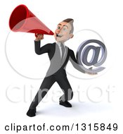 Clipart Of A 3d Happy Young White Businessman Holding An Email Arobase At Symbol And Announcing With A Megaphone Royalty Free Illustration