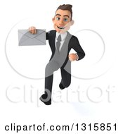 Clipart Of A 3d Happy Young White Businessman Sprinting And Holding An Envelope Royalty Free Illustration