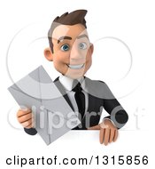 Clipart Of A 3d Happy Young White Businessman Holding An Envelope Over A Sign Royalty Free Illustration