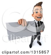 Clipart Of A 3d Happy Young White Businessman Holding Up An Envelope Royalty Free Illustration by Julos