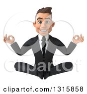 Clipart Of A 3d Happy Young White Businessman Meditating Royalty Free Illustration