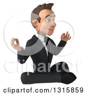 Clipart Of A 3d Happy Young White Businessman Facing Right And Meditating Royalty Free Illustration