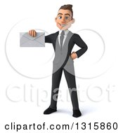 Clipart Of A 3d Happy Young White Businessman Holding An Envelope Royalty Free Illustration
