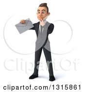 Clipart Of A 3d Young White Businessman Thinking And Holding An Envelope Royalty Free Illustration