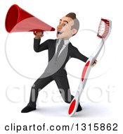 Clipart Of A 3d Happy Young White Businessman Announcing To The Left With A Megaphone And Giant Toothbrush Royalty Free Illustration by Julos