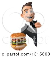 Clipart Of A 3d Happy Young White Businessman Holding A Double Cheeseburger Around A Sign Royalty Free Illustration