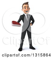 Clipart Of A 3d Happy Young White Businessman Holding A Beef Steak Royalty Free Illustration
