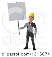 Clipart Of A 3d Young White Male Architect Holding Plans And A Blank Sign Royalty Free Illustration