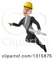 Clipart Of A 3d Young White Male Architect Holding Plans Flying And Pointing To The Left Royalty Free Illustration