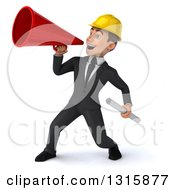 Clipart Of A 3d Young White Male Architect Holding Plans And Announcing To The Left With A Megaphone Royalty Free Illustration