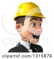 Clipart Of A 3d Avatar Of An Excited Young White Male Architect Wearing A Hardhat Facing Right Royalty Free Illustration