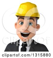 Clipart Of A 3d Avatar Of An Excited Young White Male Architect Wearing A Hardhat Royalty Free Illustration