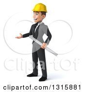 Clipart Of A 3d Young White Male Architect Holding Plans And Presenting To The Left Royalty Free Illustration