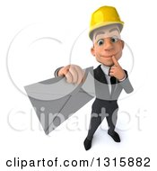 Clipart Of A 3d Young White Male Architect Holding Up An Envelope And Thinking Royalty Free Illustration