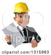 Clipart Of A 3d Young White Male Architect Holding An Envelope Over A Sign Royalty Free Illustration