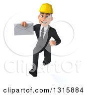 Clipart Of A 3d Young White Male Architect Sprinting And Holding An Envelope Royalty Free Illustration