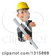 Clipart Of A 3d Young White Male Architect Holding Plans Around A Sign Royalty Free Illustration