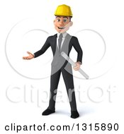 Clipart Of A 3d Young White Male Architect Holding Plans And Presenting Royalty Free Illustration