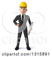 Clipart Of A 3d Young White Male Architect Holding Plans Royalty Free Illustration by Julos