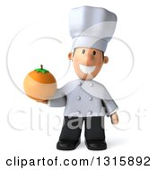 Clipart Of A 3d Short White Male Chef Holding A Navel Orange Royalty Free Illustration