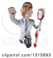 Clipart Of A 3d Young Black Male Dentist Flying And Holding A Giant Toothbrush 3 Royalty Free Illustration by Julos