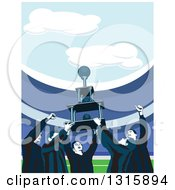 Clipart Of A Cheering Soccer Team Holding Up A Championship Trophy In A Stadium Royalty Free Vector Illustration