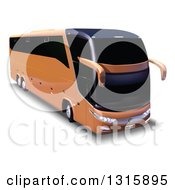 Clipart Of A 3d Orange Tour Bus With Shading On White Royalty Free Vector Illustration