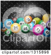 Clipart Of 3d Colorful Bingo Or Lottery Balls Over Metal Diamond Plate Royalty Free Vector Illustration