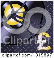 Clipart Of A Shattered Vinyl Record Album And Pound Currency Symbol On Diamond Plate Metal Royalty Free Vector Illustration