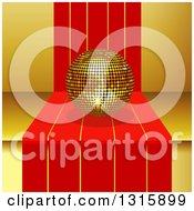 Clipart Of A 3d Gold Disco Ball On Red Striped Steps Over Yellow Royalty Free Vector Illustration
