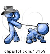 Blue Man Walking A Tough Bulldog On A Leash Clipart Illustration