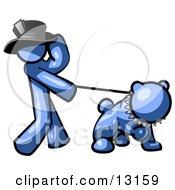 Blue Man Walking A Tough Bulldog On A Leash