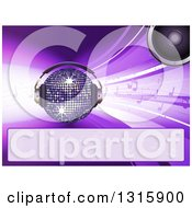 Clipart Of A 3d Sparkling Disco Ball With A Speaker Headphones Music Notes And A Blank Banner On Purple Royalty Free Vector Illustration