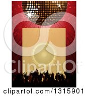 3d Sparkling Disco Ball Over A Red Burst Silhouetted Concert Hands And A Faded Box With A Music Speaker