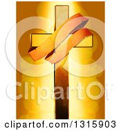 Clipart Of A Golden Cross With An Aged Banner Over Flares Royalty Free Vector Illustration