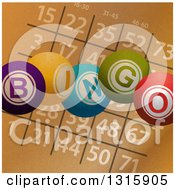 Clipart Of Brown Paper Textured Bingo Card And Colorful Balls Royalty Free Vector Illustration