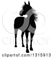 Clipart Of A Black Silhouetted Horse Royalty Free Vector Illustration by AtStockIllustration