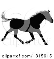 Clipart Of A Black Silhouetted Horse Running Royalty Free Vector Illustration by AtStockIllustration