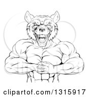 Clipart Of A Black And White Tough Vicious Muscular Wolf Man Punching His Fist Into Palm Royalty Free Vector Illustration