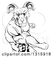 Clipart Of A Black And White Fierce Muscular Ram Man Punching Royalty Free Vector Illustration