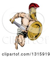 Clipart Of A Muscular Gladiator Man In A Helmet Sprinting With A Sword And Golden Shield Royalty Free Vector Illustration by AtStockIllustration