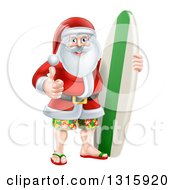 Clipart Of A Christmas Santa Claus Giving A Thumb Up And Standing With A Surf Board Royalty Free Vector Illustration