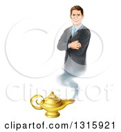 Happy Brunette White Businessman Genie With Folded Arms Emerging From A Lamp
