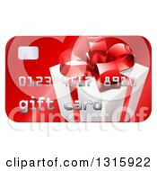 Clipart Of A Red Gift Card With A Present Graphic Royalty Free Vector Illustration