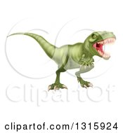 Clipart Of A 3d Roaring Vicious Angry Green Tyrannosaurus Rex Dinosaur Royalty Free Vector Illustration