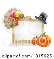Clipart Of A Happy Thanksgiving Turkey Bird Giving A Thumb Up Over A Pumpkin Blank White Board Sign And Pilgrim Hat Royalty Free Vector Illustration by AtStockIllustration