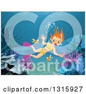 Clipart Of A Red Haired White Girl Diver Snorkeling In The Ocean Royalty Free Vector Illustration by Pushkin